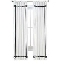 Window Treatments - Happy Chic by Jonathan Adler Alexa Canvas Curtain Panel I jcpenney - white drapes with black inset border, white curtains with black inset border, white drapes with black trim, white curtains with black trim,