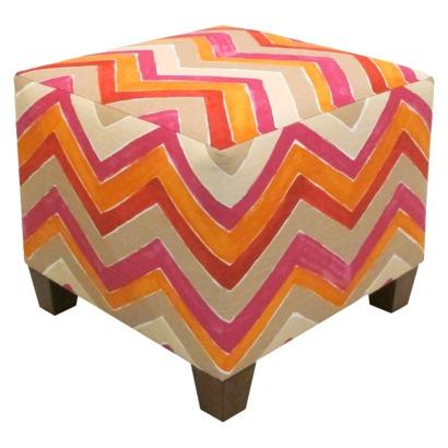 Seating - Nomad Ottoman - Multicolored I Target - pink and orange chervon cube, pink and orange chevron print ottoman, pink orange and white chevron print cube,