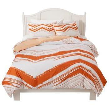Bedding - Room Essentials Chevron Duvet Cover Set I Target - white and orange bedding, white and orange chevron print bedding, white and orange modern bedding,