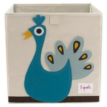 Decor/Accessories - 3 Sprouts Storage Box Peacock I Target - kids storage bins, nursery storage bins, playroom storage bin, peacock storage bin, canvas storage bin,