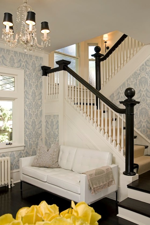 Black staircase railing contemporary entrance foyer for Foyer wallpaper ideas
