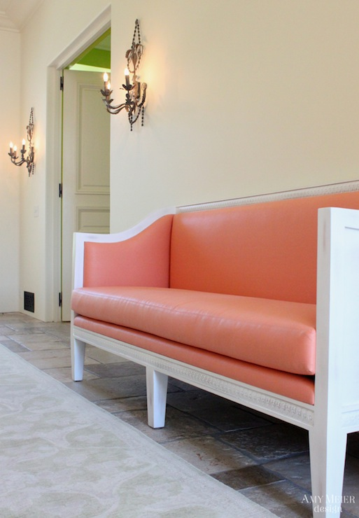 Coral Pink Settee French Entrance Foyer Amy Meier Design