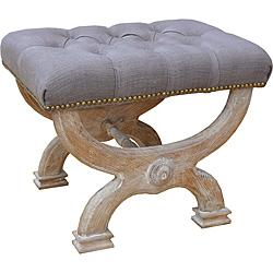 Seating - Cleopatra Solid White Oak Bench | Overstock.com - wood bench with tufted linen seat, taupe tufted linen bench, tufted linen bench with nailhead trim, taupe tufted linen bench with antique brass nailhead trim,