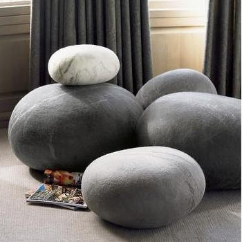 Decor/Accessories - Felted Wool Stones I VivaTerra - pebble floor cushions, felted wool stone cushions, stone look floor cushions,
