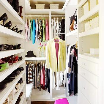 BHG - closets - walk-in closet, master closet, small closet, small walk-in closet, closet organization, organized closet, shoe-shelves, shoe shelf, drawers in closet, clothes rails, double clothes rails, shelves, master bedroom closet,