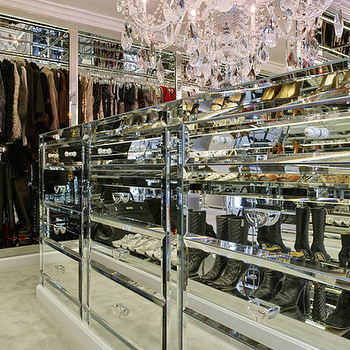 closets - mirrored closet, master closet, walk-in closet, closet island, closet storage, organized closet, clothes rails, glamorous closet, crystal chandelier, mirrored drawers,