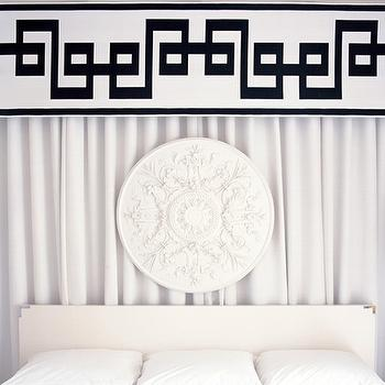 bedrooms - black and white bedroom, valance box, greek key valance box, black and white valance box, black and white greek key valance, cornice, greek key valance, black and white valance, bedroom valance, bedroom valance box, white curtains, white drapes, campaign headboard, white campaign headboard, white medallion,