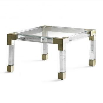 Tables - Jacques Cocktail Table I Jonathan Adler - polished brass and lucite cocktail table, polished brass and lucite coffee table, brass and lucite coffee table,