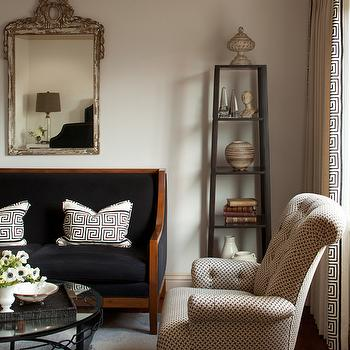 Black Velvet Settee, French, living room, Amy Meier Design