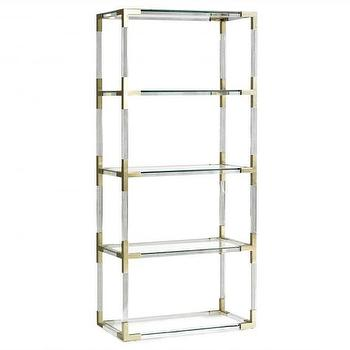 Storage Furniture - Jacques Etagere I Jonathan Adler - polished brass and lucite etagere, lucite and brass shelves, lucite and brass etagere,