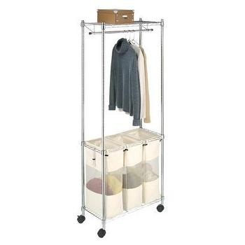 Miscellaneous - Whitmor 6058-546 Supreme Laundry Center, Chrome I Target - laundry sorter, laundry bins, laundry hamper, laundry divider, laundry cart, laundry hamper with drying rail, laundry room organizer,