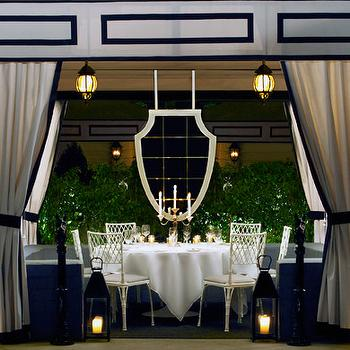 decks/patios - pavilion tent, black and white tent, black and white pavilion tent, hollywood regency, hollywood regency tent, hollywood regency pavilion tent,