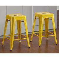 Seating - Tabouret 24-inch Lemon Metal Counter Stools (Set of 2) | Overstock.com - yellow tabouret stools, yellow tabouret counter stools, yellow counter stools,