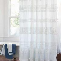 Bath - Organic Cotton Ruffled Shower Curtain I VivaTerra - white ruffled shower curtain, cotton ruffled shower curtain, ruffle shower curtain,