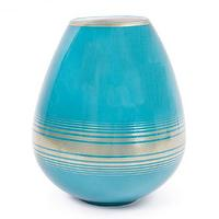 Decor/Accessories - Santorini Aura Vase I Jonathan Adler - turquoise porcelain vase, turquoise and gold vase, turquoise vase with gold accents,