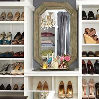 Meredith McBride Kipp - closets - walk in closet, closet design, walk in closet design, closet system, closet cabinets, white closet cabinets, shelves for shoes, shoe shelves, bag shelves, purse shelves, small vanity, buil tin vanity, closet vanity, walk in closet vanity, reclaimed mirror, reclaimed wood mirror, hex mirror, reclaimed hex mirror, reclaimed wood hex mirror,