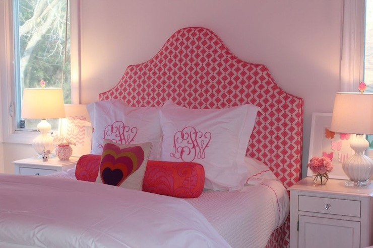 Julie Rootes Interiors - girl's rooms - Regina Andrew White Glass Ripple Lamp, pink walls, pink wall color, girls bedroom, pink girls bedroom, upholstered headboard, arched headboard, pink headboard, pink and white headboard, white bedding, white bed linens, white euro sham, monogrammed pillow, monogrammed euro sham, pink bolster pillow, heart pillow, heart print pillow, white nightstand, white glass lamp, rippled white lamp, pink flowers, leaning art, pink butterfly art, pink and white geometric print headboard, White Glass Ripple Lamp,