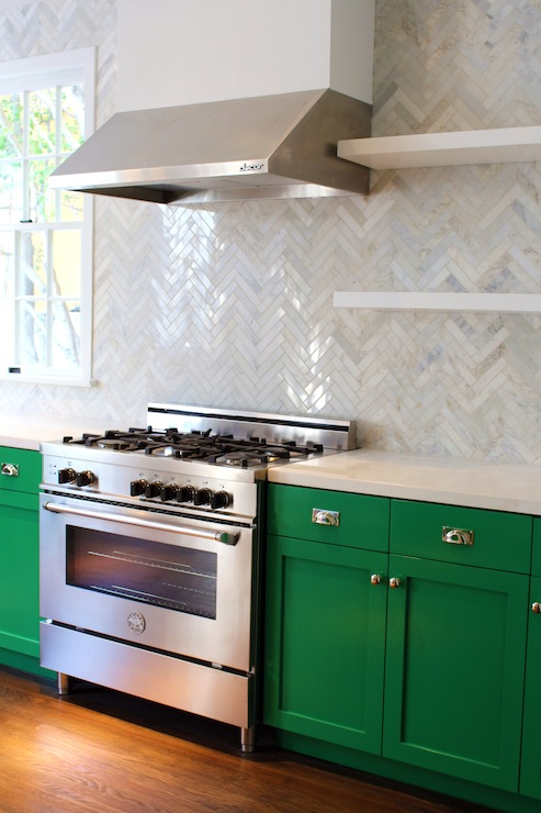Green cabinets contemporary kitchen benjamin moore - Green cabinets in kitchen ...
