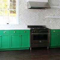 Kishani Perera - kitchens - emerald green, emerald green cabinets, emerald green kitchen cabinets, green cabinets, green kitchen cabinets, quartz countertops, white quartz counters, white quartz countertops, marble herringbone tile, marble herringbone tile backsplash, marble herringbone backsplash, marble herringbone backsplash tile, marble herringbone kitchen tile, marble herringbone kitchen backsplash, marble herringbone kitchen backsplash tile, floating shelves, stainless steel kitchen hood, stainless steel range, emerald green paint, emerald green paint colors, painted cabinets, painted kitchen cabinets, dark stained wood floors, espresso stained wood floors,