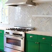Kishani Perera - kitchens - Benjamin Moore - Once Upon a Time - emerald green, emerald green cabinets, emerald green kitchen cabinets, green cabinets, green kitchen cabinets, quartz countertops, white quartz counters, white quartz countertops, marble herringbone tile, marble herringbone tile backsplash, marble herringbone backsplash, marble herringbone backsplash tile, marble herringbone kitchen tile, marble herringbone kitchen backsplash, marble herringbone kitchen backsplash tile, floating shelves, stainless steel kitchen hood, stainless steel range, emerald green paint, emerald green paint colors, painted cabinets, painted kitchen cabinets,