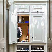 Veranda - laundry/mud rooms - mudroom, mudroom cabinets, custom cabinetry, white mudroom cabinets, mudroom storage, organized mudroom, cubbies, mudroom cubbies, baskets, tongue and groove paneling, paneled walls, tongue and groove paneled walls, wood paneled walls,