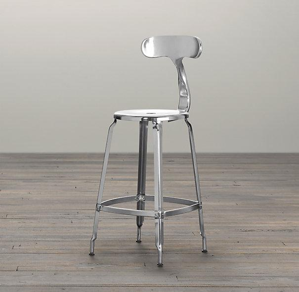 French T Back Counter Stool Polished Chrome Bar