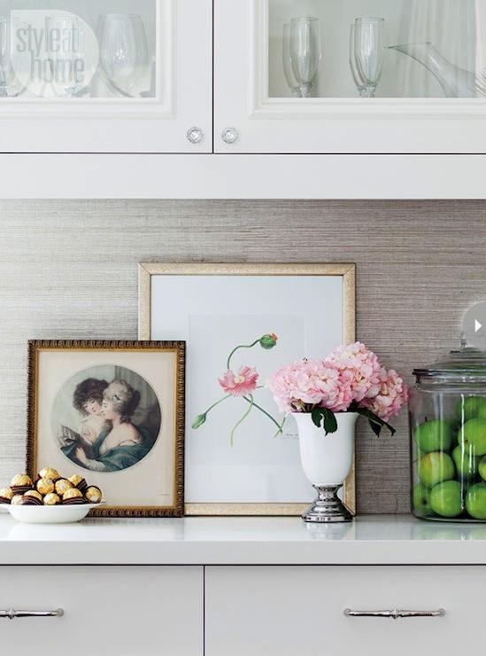 Gray grasscloth wallpaper backsplash transitional for Grey kitchen wallpaper