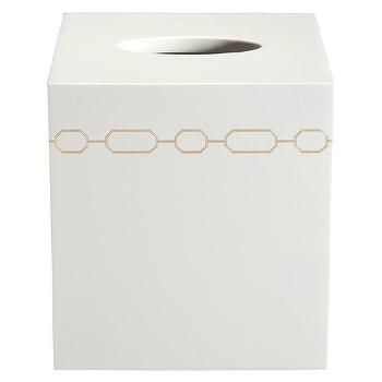 Bath - Norma White Tissue Cover I zinc door - hollywood bathroom accessories, white tissue box with gold chain link pattern, tissue box cover, modern tissue box cover,