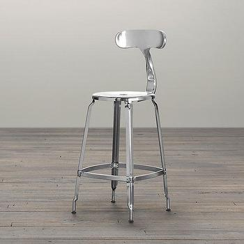 French T Back Counter Stool Polished Chrome, Bar & Counter Stools, Restoration Hardware