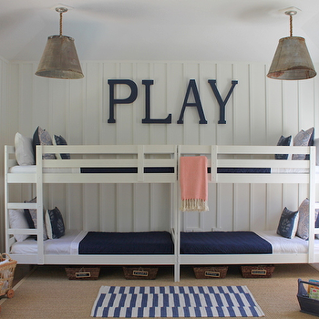 Lauren Leonard Interiors - boy's rooms: bunk room, bunk bed room, boys bunk room, boys bunk bedroom, paneling, paneled walls, white paneled walls, vertical wall paneling, vertical paneled walls, galvanized metal pendants, industrial pendants, ikea beds, ikea bunk beds, ikea bunk bed frame, white bunk beds, boys bunk beds, white and blue bedding, woven baskets, chalkboard tags, baskets with chalkboard tags, bamboo roman shades, layered rugs, striped rug, white and blue rug, white and blue striped rug, bound sisal rug, sisal rug, play table and chairs, cottage boys room, cottage boys bedroom, white and blue boys room, white and blue boys bedroom,