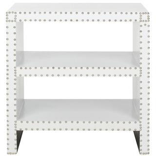 Tables - Safavieh Lacey White Side Table | Overstock.com - modern white side table, white side table with nailhead trim, modern side table with nailhead trim,