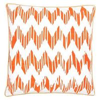 Pillows - Allem Studio Chevron Orange Pillow I zinc door - white and orange geometric pillow, orange and white chevron pillow, orange and white zigzag pillow,