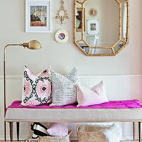 Recently - entrances/foyers: pink and gray foyer, foyer, entrance, pink and gray entrance, gray walls, paneled walls, wall paneling, faux bamboo mirror, gold faux bamboo mirror, gold bamboo mirror, brass pharmacy floor lamp, pharmacy floor lamp, vintage bench, gray bench, woven baskets, red and blue rug, suzani pillow, pink and black pillow, pink fretwork pillow,