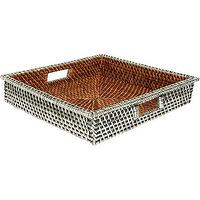 Decor/Accessories - Gaeca Rattan and Silver Metal Square Tray I Barneys.com - silver rattan chair, sterling silver rattan chair,