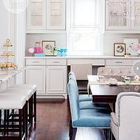 Style at Home - dining rooms - contemporary dining room, dining room, white chandelier, dining room chandelier, rectangular dining table, espresso dining table espresso stained dining table, blue dining chairs, turquoise dining chairs, turquoise blue dining chairs, blue velvet dining chairs, turquoise velvet dining chairs, turquoise blue velvet dining chairs, cream dining chairs, cream velvet dining chairs, cream tufted dining chairs, cream velvet tufted dining chairs, captain dining chairs, display cabinets, dining room display cabinets, built in display cabinets, glass front cabinets, white countertops, breakfast bar, marble breakfast bar, marble top breakfast bar, leather bars tools, white leather bar stools, backless bar stools, leather backless bar stools,