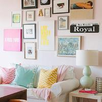 The Every Girl - dens/libraries/offices - Farrow & Ball - Middleton Pink - pink office, pink paint, pink paint colors, eclectic art gallery, i feel you print, live what you love print, white loveseat, slipcovered loveseat, white slipcovered settee, ikea ektorp, ektorp loveseat, white ektorp loveseat, cailtin wilson textiles, caitlin wilson textiles pillows, pink geometric pillow, mint pillow, greek key pillow, mint greek key pillow, yellow geometric pillow, pink city maze pillow, mint deco pillow, deco pillow, mustard city maze pillow, pink throw, pink throw blanket, pastel living room, pastel room design, pastel accents, pastel room accents, mint lamp, double gourd lamp, mint gourd lamp, mint double gourd lamp, ikea lack, lack table, sabine rug, office, home office,