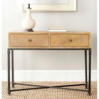 Tables - Safavieh Julian Natural Console Table | Overstock.com - reclaimed wood console table, wood and iron console table, reclaimed wood console with iron base, two drawer wood topped console table,