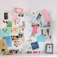 The Every Girl - dens/libraries/offices - Benjamin Moore - Middleton Pink - pink office, pink walls, pink paint, pink paint color, studded pin board, nailhead pin board, bulletin board, nailhead bulletin board, ikea expedit bookcase, expedit bookcase, white expedit, white expedit bookcase,