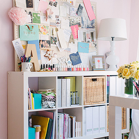 The Every Girl - dens/libraries/offices - Farrow & Ball - Middleton Pink - pink office, pink walls, pink paint, pink paint color, studded pin board, nailhead pin board, bulletin board, nailhead bulletin board, ikea expedit bookcase, expedit bookcase, white expedit, white expedit bookcase, pink rug, pink geometric rug, pink rug, pink geometric rug, office,