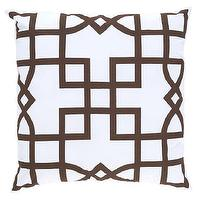 Pillows - Allem Studio Maze Brown Pillow I zinc door - white and brown geometric pillow, white and brown lattice pillow, brown and white modern pillow,