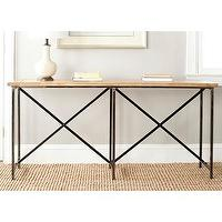 Tables - Safavieh Simon Natural Console Table | Overstock.com - contemporary console table, metal based wood topped console table, wood topped console table,