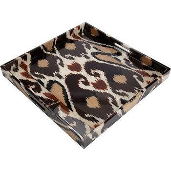 "Decor/Accessories - Madeline Weinrib 20"" Brindle Mor Square Tray I Barneys.com - ikat tray, brown ikat tray, ikat fabric covered tray,"