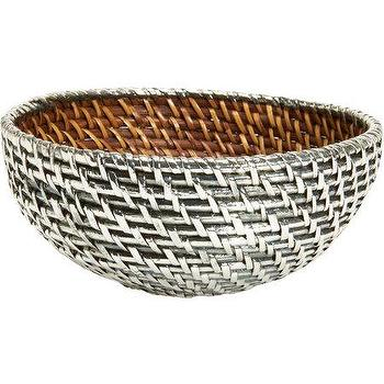Decor/Accessories - Gaeca Rattan and Silver Metal Round Basket I Barneys.com - rattan bowl covered in sterling silver, sterling silver rattan bowl, sterling silver woven bowl,