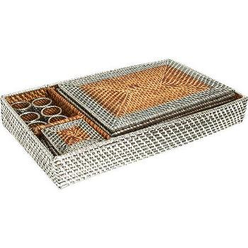 Decor/Accessories - Gaeca Rattan and Silver Metal Place Setting Collection I Barneys.com - rattan and silver place setting, sterling silver rattan place setting, rattan place setting coated in sterling silver,