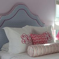 Julie Rootes Interiors - girl's rooms - purple girls room, lavender walls, lavender wall color, white nightstands, modern white nightstands, hot pink lamps, upholstered headboard, white bedding, white duvet, white bed lines, euro shams, monogrammed euro shams, monogrammed pillows, white coverlet, white folded duvet, pink lattice pillow, striped bolster pillow, pink pillow, blue chevron print headboard, blue headboard with pink piping, bolster pillow, faceted pink lamp, Robert Abbey Delta Schiaparelli Pink High Table Lamp, Jacqui 3-Drawer Side Table, chevron headboard, blue chevron headboard, Bungalow 5 Jacqui 3-Drawer Side, Delta Schiaparelli Pink High Table Lamp,