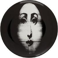 Decor/Accessories - Fornasetti Theme & Variations Decorative Plate #317 I Barneys.com - fornasetti plate, black and white face plate, fornasetti face plate,