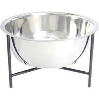 Decor/Accessories - Doca Pet Y Bowl Medium I Barneys.com - stainless steel dog bowl, dog bowl with stand, metal stand for dog bowl, stainless steel dog bowl with metal stand,