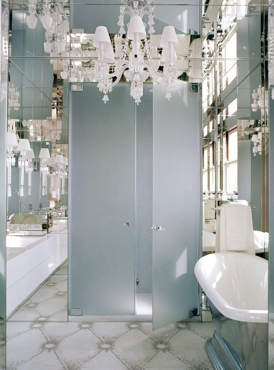 Frosted glass doors contemporary bathroom andrew for Artful decoration interiors by fisher weisman