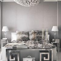 Andrew Skurman Architects - bedrooms: gray walls, gray upholstered walls, gray fabric covered walls, gray textured walls, gray bed, gray upholstered bed, hollywood glamour, hollywood regency, mirrored side tables, mirrored nightstands, mirrored end tables, crystal lamps, baccarat lamps, baccarat crystal lamps, fur pillows, fur throw, fur bedding, greek key bench, mirrored greek key bench, chrome greek key table, chrome greek key console table, candelabra, mirrored tray, feather chandelier, feathered chandelier, monochromatic bedroom, monochromatic master, tall ceilings, high ceilings, glam, glam bedroom, glamorous bedroom, glamorous master bedroom, hollywood regency style, ceiling moldings, faux fur pillows, faux fur throw,