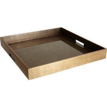 Decor/Accessories - Barneys New York Coffee Extra-Large Square Ottoman Tray I Barneys.com - square ottoman tray, metallic lacquered tray, metallic lacquered ottoman tray, square brushed metallic ottoman tray, ottoman tray,